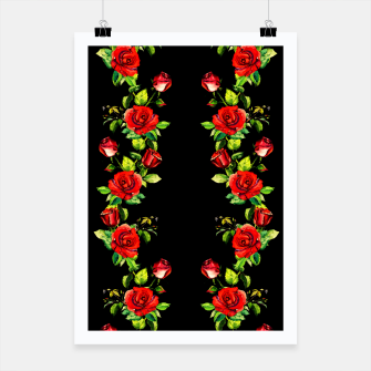 simple watercolor roses with tendrils seamless pattern on black Poster thumbnail image