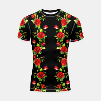 simple watercolor roses with tendrils seamless pattern on black Shortsleeve rashguard thumbnail image