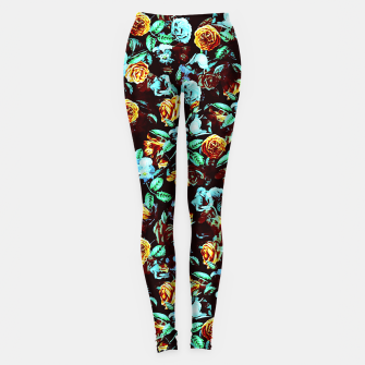 Thumbnail image of Yellow Blue Flowers Leggings, Live Heroes