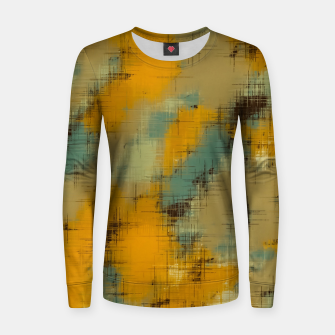 painting texture abstract background in brown and green Women sweater thumbnail image