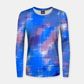 painting texture abstract background in blue pink Women sweater thumbnail image