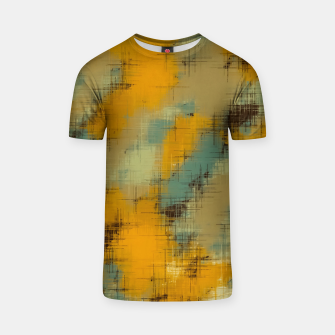 painting texture abstract background in brown and green T-shirt thumbnail image