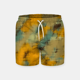 painting texture abstract background in brown and green Swim Shorts thumbnail image
