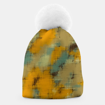 painting texture abstract background in brown and green Beanie thumbnail image