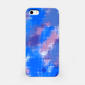painting texture abstract background in blue pink iPhone Case thumbnail image