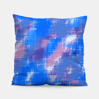 painting texture abstract background in blue pink Pillow thumbnail image