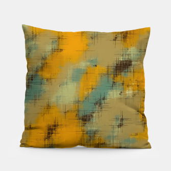 painting texture abstract background in brown and green Pillow thumbnail image