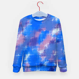 painting texture abstract background in blue pink Kid's sweater thumbnail image
