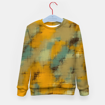 painting texture abstract background in brown and green Kid's sweater thumbnail image