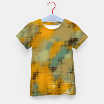 painting texture abstract background in brown and green Kid's t-shirt thumbnail image