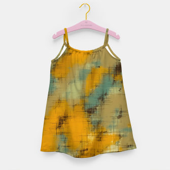 painting texture abstract background in brown and green Girl's dress thumbnail image