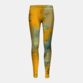 painting texture abstract background in brown and green Girl's leggings thumbnail image