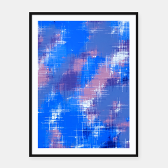 painting texture abstract background in blue pink Framed poster thumbnail image