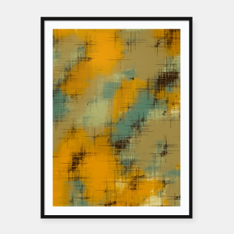 painting texture abstract background in brown and green Framed poster thumbnail image