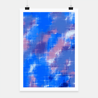 painting texture abstract background in blue pink Poster thumbnail image