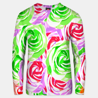 colorful rose pattern abstract in red pink green Unisex sweater thumbnail image