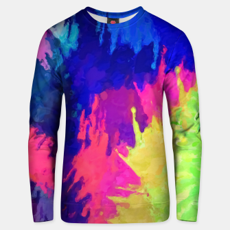 painting texture abstract background in blue pink yellow green Unisex sweater thumbnail image