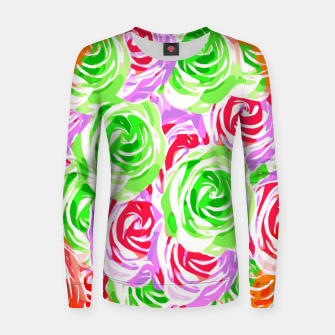 colorful rose pattern abstract in red pink green Women sweater thumbnail image