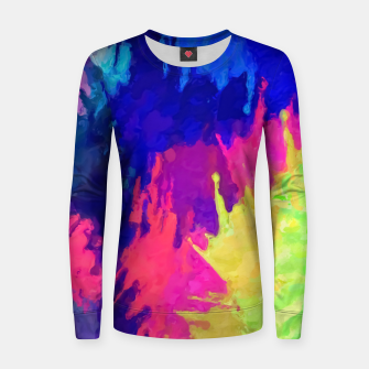 painting texture abstract background in blue pink yellow green Women sweater thumbnail image
