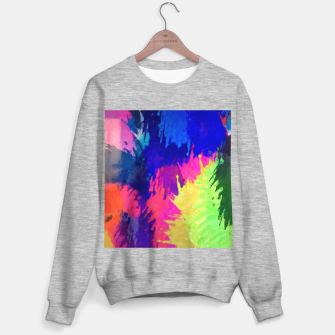 painting texture abstract background in blue pink yellow green Sweater regular thumbnail image