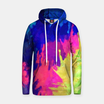 painting texture abstract background in blue pink yellow green Hoodie thumbnail image