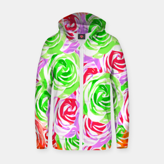 colorful rose pattern abstract in red pink green Zip up hoodie thumbnail image