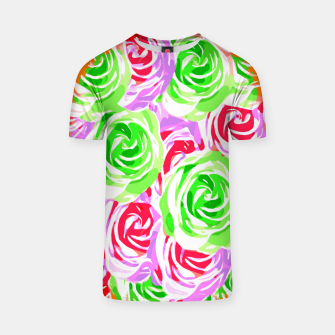 colorful rose pattern abstract in red pink green T-shirt thumbnail image
