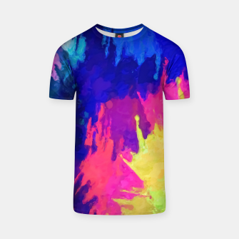 painting texture abstract background in blue pink yellow green T-shirt thumbnail image