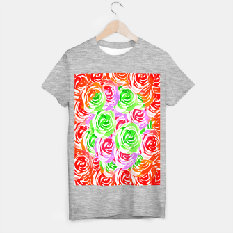 colorful rose pattern abstract in red pink green T-shirt regular thumbnail image