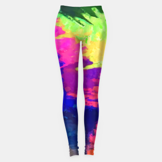 painting texture abstract background in blue pink yellow green Leggings thumbnail image