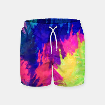 painting texture abstract background in blue pink yellow green Swim Shorts thumbnail image