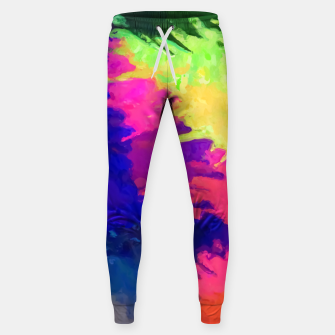 painting texture abstract background in blue pink yellow green Sweatpants thumbnail image