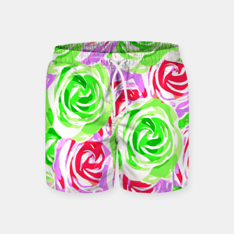 colorful rose pattern abstract in red pink green Swim Shorts thumbnail image