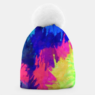 painting texture abstract background in blue pink yellow green Beanie thumbnail image