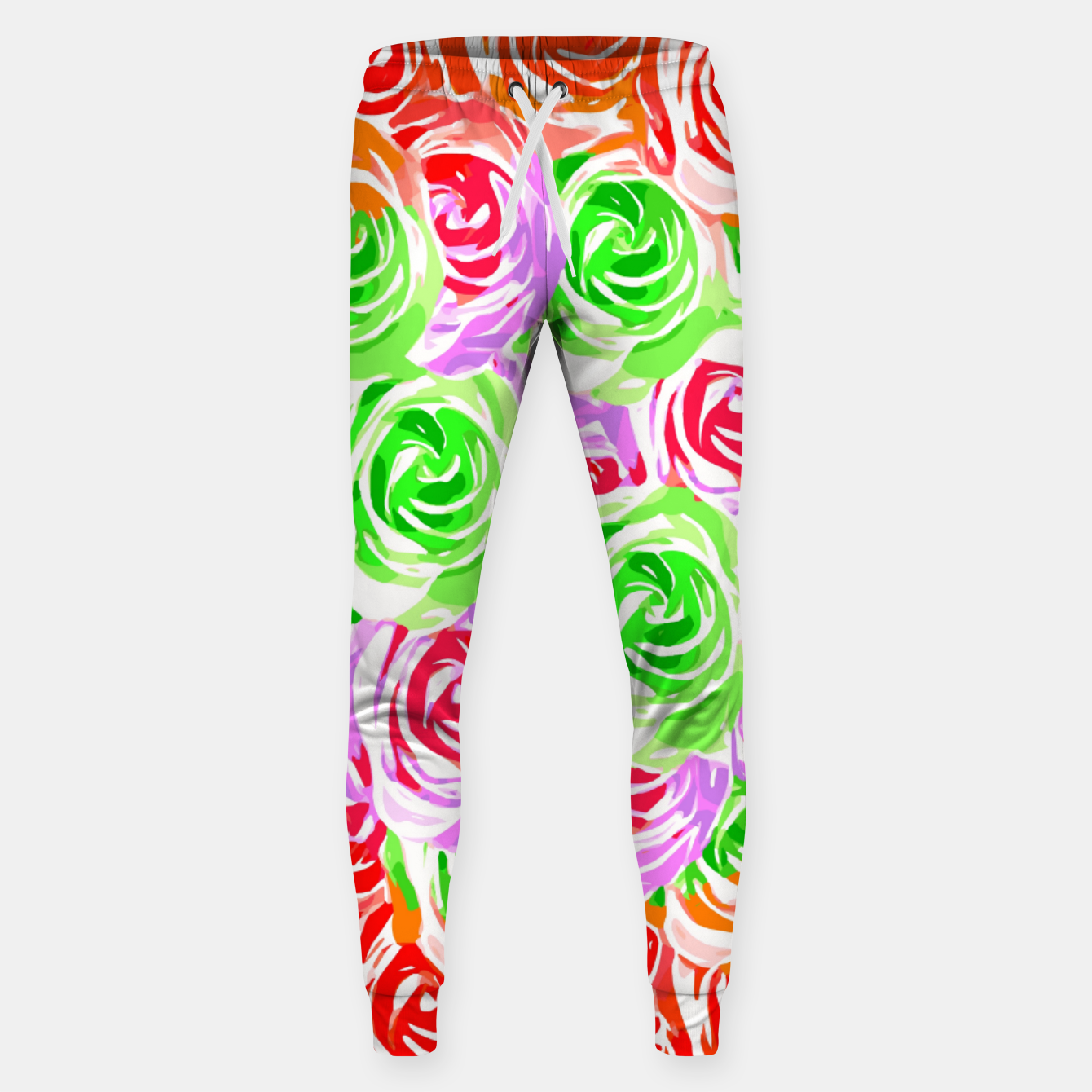 Image of colorful rose pattern abstract in red pink green Sweatpants - Live Heroes