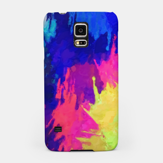 painting texture abstract background in blue pink yellow green Samsung Case thumbnail image