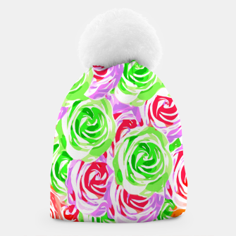colorful rose pattern abstract in red pink green Beanie thumbnail image