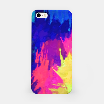 painting texture abstract background in blue pink yellow green iPhone Case thumbnail image