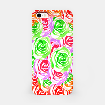 colorful rose pattern abstract in red pink green iPhone Case thumbnail image