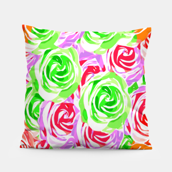 colorful rose pattern abstract in red pink green Pillow thumbnail image