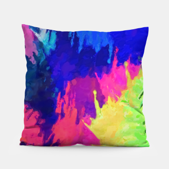 painting texture abstract background in blue pink yellow green Pillow thumbnail image