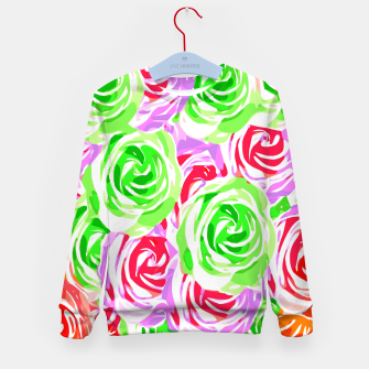 colorful rose pattern abstract in red pink green Kid's sweater thumbnail image