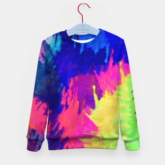 painting texture abstract background in blue pink yellow green Kid's sweater thumbnail image