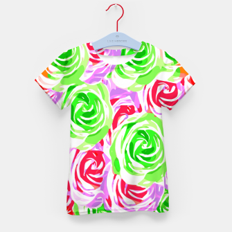 colorful rose pattern abstract in red pink green Kid's t-shirt thumbnail image