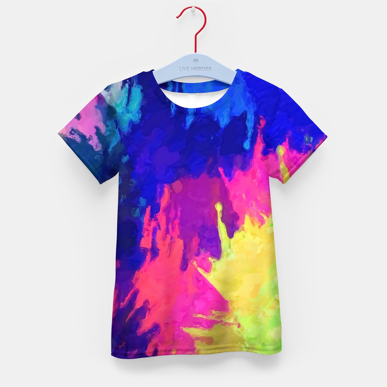 Image of painting texture abstract background in blue pink yellow green Kid's t-shirt - Live Heroes