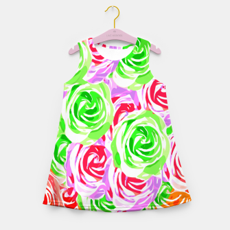 colorful rose pattern abstract in red pink green Girl's summer dress thumbnail image