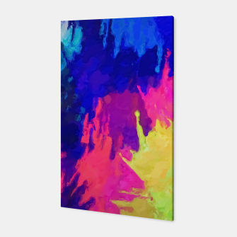 painting texture abstract background in blue pink yellow green Canvas thumbnail image