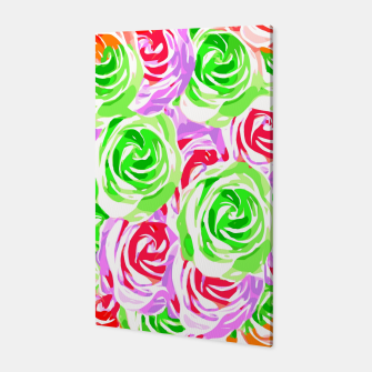 colorful rose pattern abstract in red pink green Canvas thumbnail image