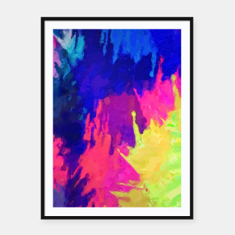 painting texture abstract background in blue pink yellow green Framed poster thumbnail image