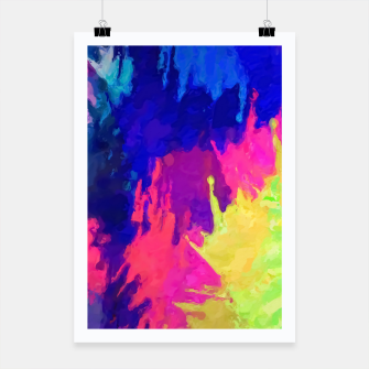 painting texture abstract background in blue pink yellow green Poster thumbnail image
